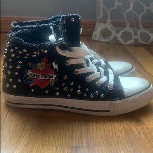 Zara distressed studded sneakers sz 7